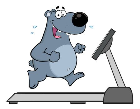 Gray Bear Cartoon Character Running On A Treadmill