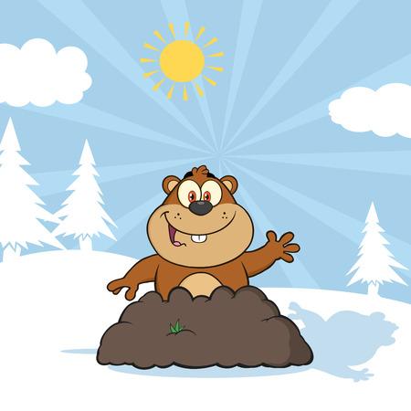 marmot: Happy Marmot Cartoon Character Waving In Groundhog Day