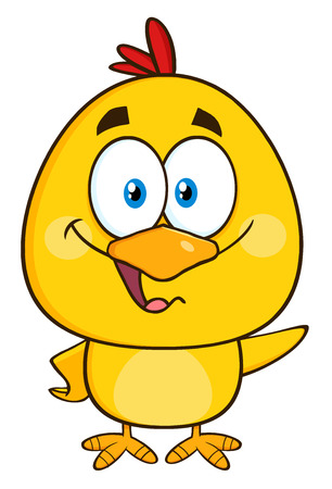 cartoon egg: Yellow Chick Cartoon Character Waving With Speech Bubble