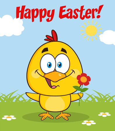 flower font: Cute Yellow Chick Cartoon Character Holding A Flower and Happy Easter Greeting
