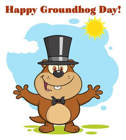 open arms: Happy Marmot Cartoon Character With Open Arms In Groundhog Day Stock Photo