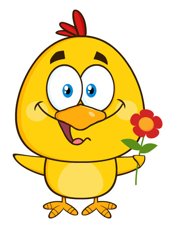 flower illustration: Cute Yellow Chick Cartoon Character Holding A Flower