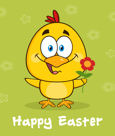 flower font: Yellow Chick Cartoon Character Holding A Flower Over Green With Happy Easter Text