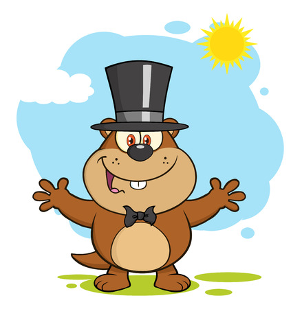 Happy Marmot Cartoon Character With Open Arms In Groundhog Day Stock Photo