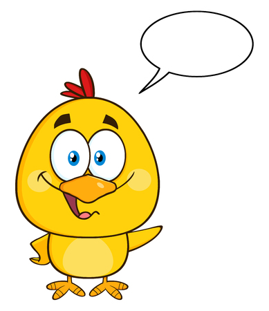 chick: Cute Yellow Chick Cartoon Character Waving With Speech Bubble