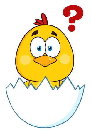 surprised: Cute Yellow Chick Cartoon Character Hatching From An Egg With Question Mark