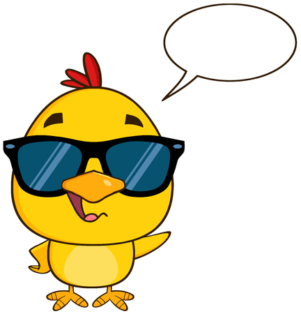 pajaro caricatura: Carácter lindo de la historieta del polluelo amarillo con gafas de sol, Hablar y agitando