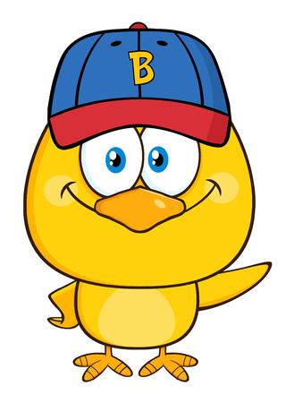 chick: Yellow Chick Cartoon Character Wearing A Baseball Cap And Waving
