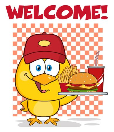 food tray: Yellow Chick Cartoon Character Wearing a Baseball Cap and Holding A Fast Food Tray Under Welcome