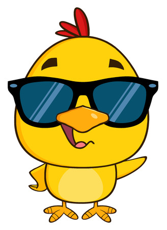 cartoon chicken: Yellow Chick Cartoon Character Wearing Sunglasses Waving