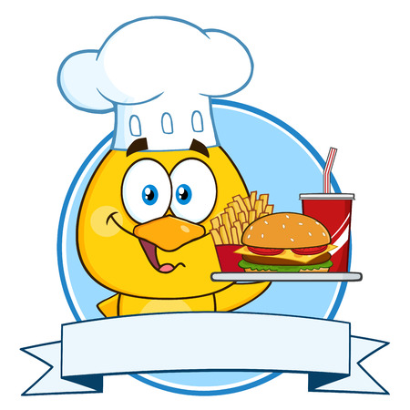 clothing label: Chef Yellow Chick Cartoon Character Holding A Fast Food Over A Ribbon Banner Stock Photo