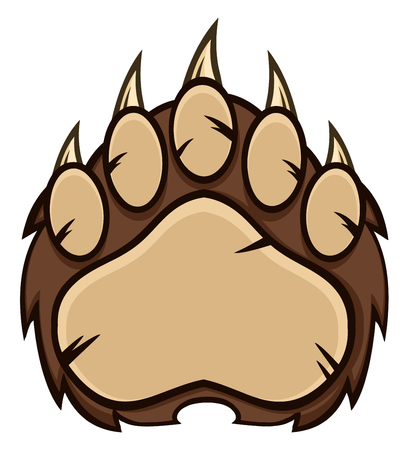 grizzly: Brown Bear Paw Avec Claws. Illustration isolé sur blanc