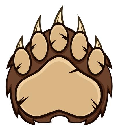 garra: La pata de oso marrón con las garras. Ilustración aislada en blanco