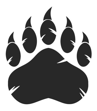 La pata de oso negro con garras. Ilustración sobre fondo blanco
