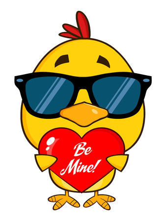be mine: Cute Yellow Chick With Sunglasses Character Holding A Be Mine Valentine Love Heart Stock Photo