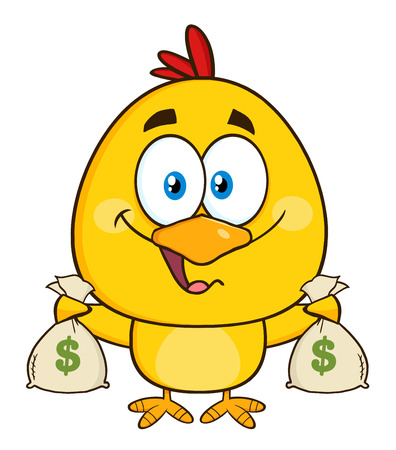 money bags: Funny Yellow Chick Character Holding Money Bags