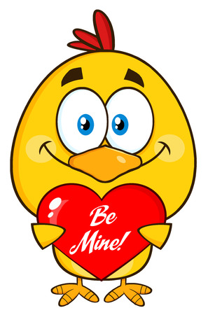 Cute Yellow Chick Character Holding A Be Mine Valentine Love Heart Reklamní fotografie - 53241394