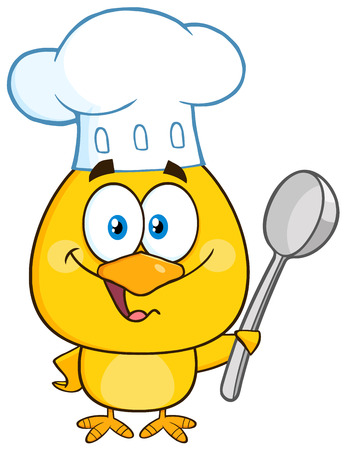 capon: Happy Chef Yellow Chick Cartoon Character Holding A Spoon Stock Photo