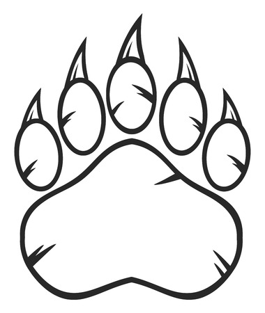Black And White Bear Paw With Claws Stock Photo