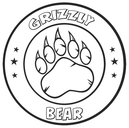 circle design: Black And White Bear Paw With Claws Circle Logo Design.