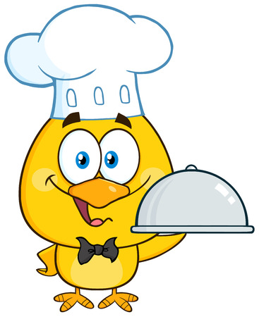 capon: Happy Chef Yellow Chick Character Holding A Cloche Platter