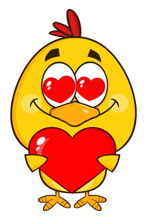 chick: Yellow Chick Character Holding A Valentine Love Heart