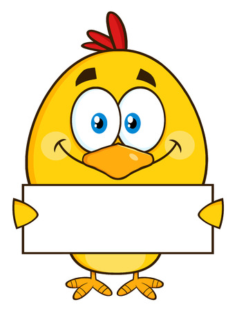 holding sign: Yellow Chick Cartoon Character Holding A Blank Sign