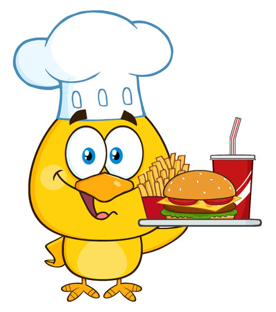 food tray: Chef Yellow Chick Cartoon Character Holding A Fast Food Tray Stock Photo