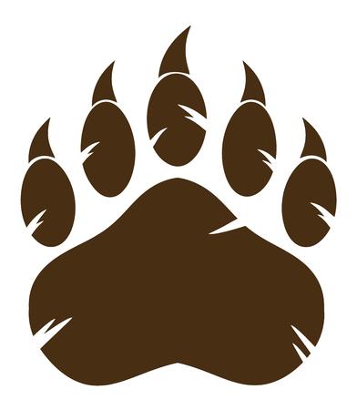 Brown Bear Paw Avec Claw. Illustration isolé sur fond blanc