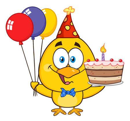 cockerel: Yellow Chick Character Wearing A Party Hat And Holding Balloons And a Birthday Cake Stock Photo