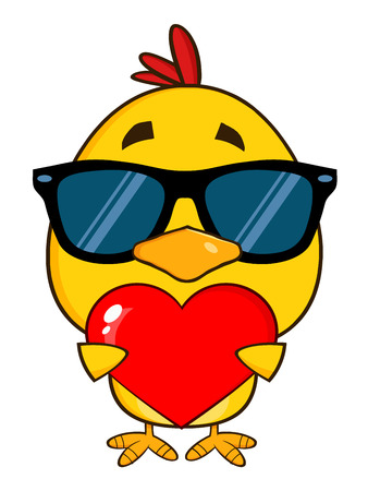 comic baby: Yellow Chick With Sunglasses Character Holding A Valentine Love Heart