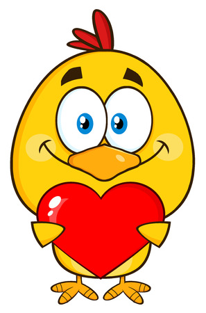 cute love: Cute Yellow Chick Cartoon Character Holding Valentine Love Heart