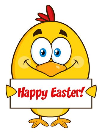 easter sign: Smiling Yellow Chick Cartoon Character Holding A Happy Easter Sign Stock Photo