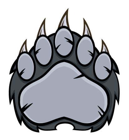 paw paw: Gray Bear Paw With Claws. Illustration Isolated On White