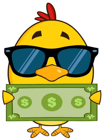 pajaro caricatura: Amarillo del polluelo personaje de dibujos animados con gafas de sol y sosteniendo un billete de dólar