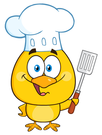 capon: Happy Chef Yellow Chick Cartoon Character Holding A Slotted Spatula