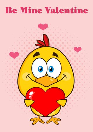 cute love: Cute Yellow Chick Cartoon Character Holding A Valentine Love Heart