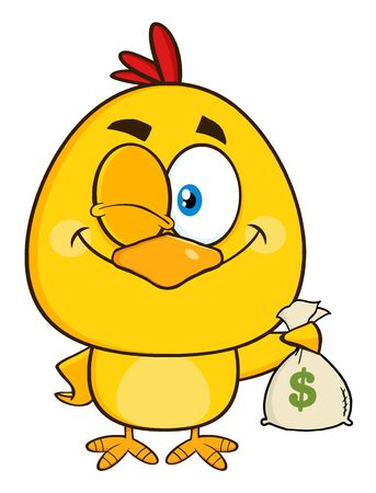 winking: Yellow Chick Cartoon Character Winking And Holding A Money Bag