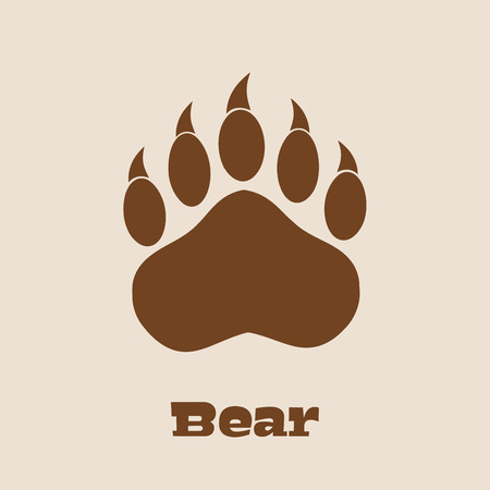 bear footprints: Brown Bear Paw With Claws.  Illustration Background And Text