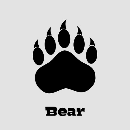 Black Bear Paw With Claws. Illustration Background And Text Stock Photo