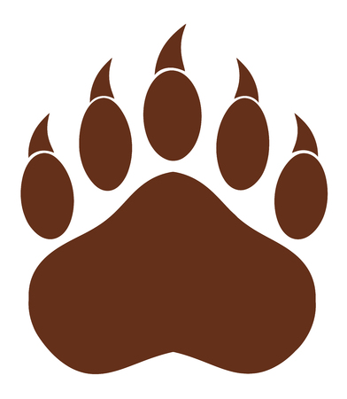 illustration isolated: Brown Bear Paw With Claws. Illustration Isolated On White Stock Photo