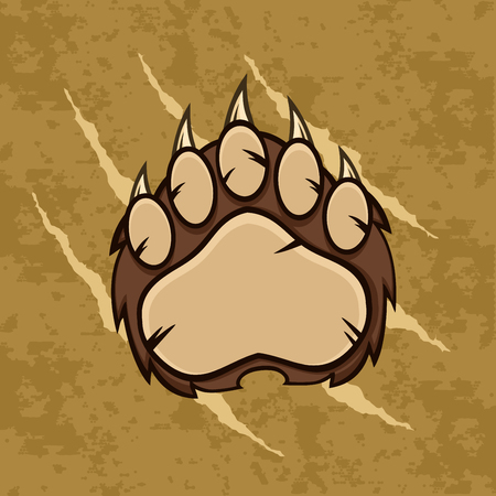 scratches: Brown Bear Paw With Claws. Illustration With Scratches Grunge Background