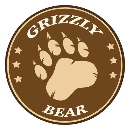 paws: Bear Paw Print Brown Circle Label Design