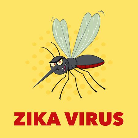 Mosquito Cartoon Character Flying. Illustration With Background With Text Zika Virus