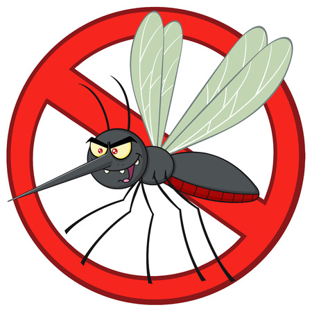 stop mosquito: Stop Mosquito Cartoon Character With Prohibited Symbol Stock Photo