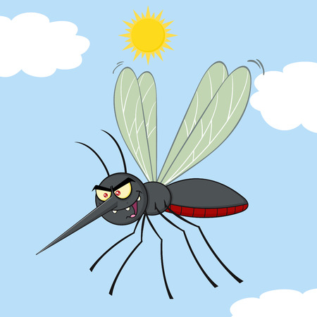 Mosquito Cartoon Character Flying. Illustration With Background Stock Photo