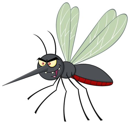 animal blood: Mosquito Cartoon Character Flying. Illustration Isolated On White