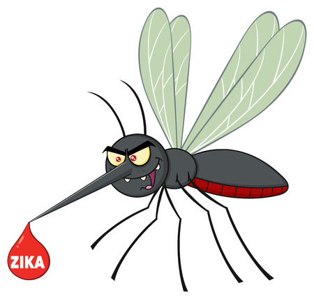 suck blood: Mosquito Cartoon Character Flying With Blood Drop And Text Zika