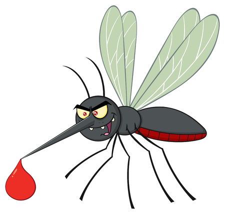 suck blood: Mosquito Cartoon Character Flying With Blood Drop