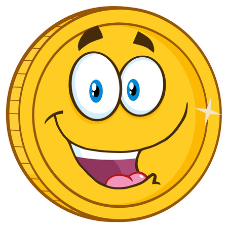 Smiling Golden Coin Cartoon Character For Business And Finance Concepts